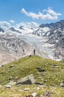 Blick von Wanderweg auf den Gurgler Ferner, Ötztal, Tirol, Österreich
