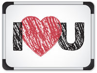 Whiteboard with I Love Heart You Message written with Chalk