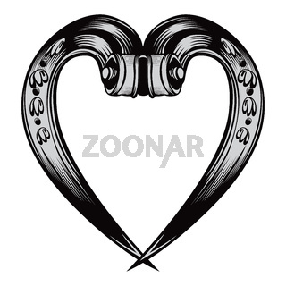 Antique decorative heart emblem