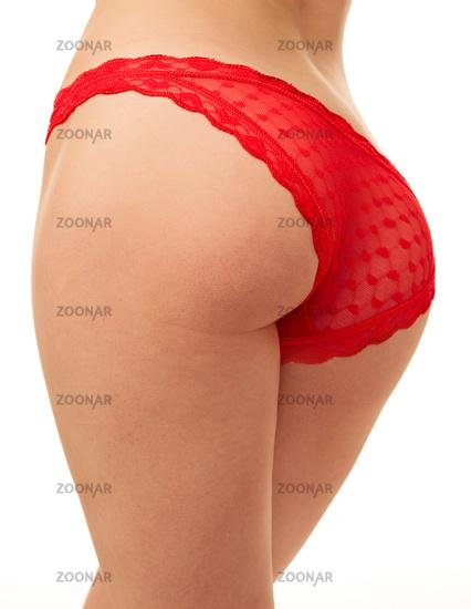 woman back in red panties
