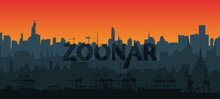 City skyline silhouette in a flat style at sunset. Layers for parallax. Modern cityscape. Cargo port with cranes. Vector EPS10.