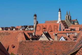 Above the roofs of Rothenburg ob der Tauber on a sunny summer day