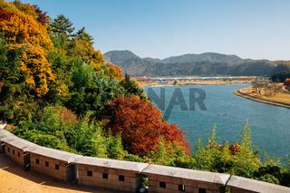 Panoramic view of Miryang river and mountain at autumn in Miryang, Korea