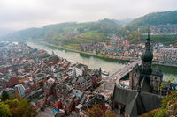 Panoramic view of the old town of Dinant in Belgium.