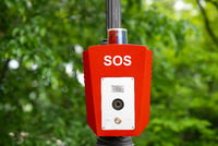 SOS, police, emergency button in the public park.