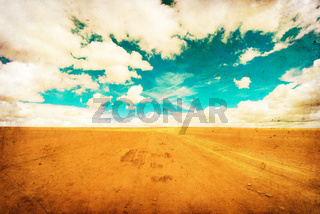 grunge image of desert road