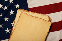 Vintage paper on old US American flag