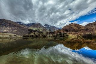 Mountain lake Lohan Tso in Himalayas