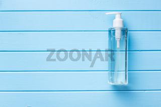 Coronavirus prevention hand sanitizer gel in bottle. Hand disinfectant gel