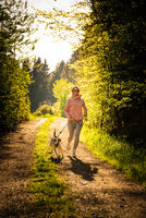 Young woman and dog running together in sunny forest.