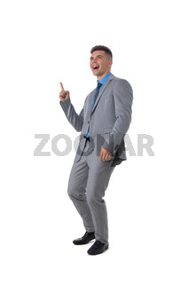 Business man pointing at copy space
