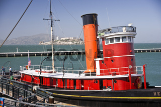 Tugboat and Alcatraz Island