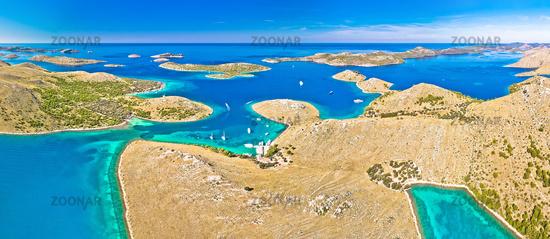 Kornati. Amazing island archipelago landscape of Kornati national park aerial