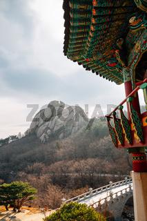 Geumgang mountain Hwaamsa temple at winter in Goseong, Korea