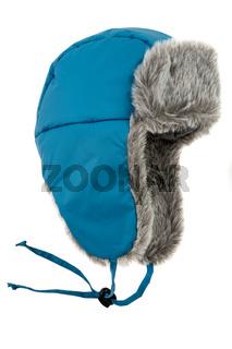 dark blue children's fur cap