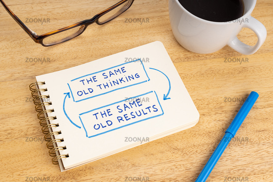 The same old thinking the same old results phrase on notebook. Closed loop or negative feedback mindset concept