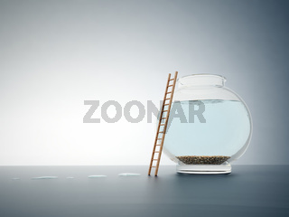 Empty fishbowl with a ladder - independence and freedom concept illustration