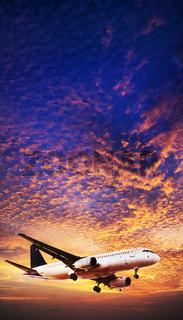 Jet is maneuvering in spectacular sunset sky