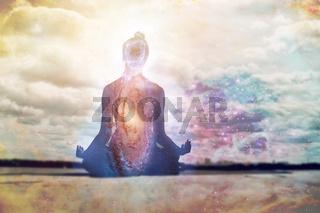 Yoga day and meditation symbol.