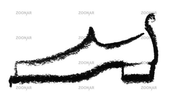 sketched mans shoe