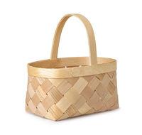 Empty woven birch basket