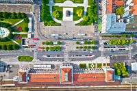 Zagreb central train station and King Tomislav square aerial view