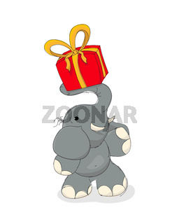 Elephant with gift box