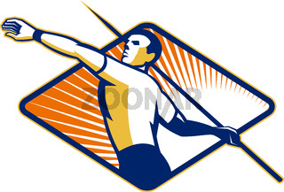 Track and Field Athlete Javelin Throw Retro