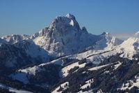 Gummfluh in winter, mountain near Gstaad, Switzerland.