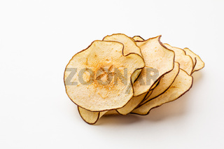Pear dried fruits heap close up isolated