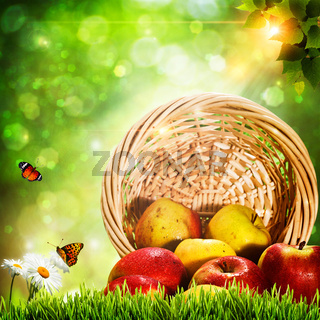 Abstract natural backgrounds with fresh tasty apples