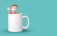 Young 3D Cartoon Character Inside a Mug on Blue Background with Copy Space