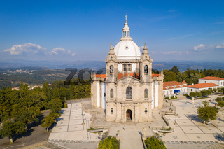 Sameiro Sanctuary drone aerial view in Braga, Portugal