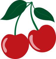 ed fresh cherries isolated on white background