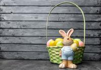 Traditional seasonal Easter holiday bunny and eggs