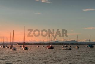 Segelboote auf dem Bodensee, Abendstimmung, Allensbach, Baden-Württemberg, Deutschland