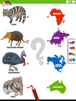 match animal species and continents educational game
