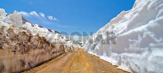Snow Wall Leading from Animas Forks to Cinnamon Pass in the San Juan Mountains in Colorado