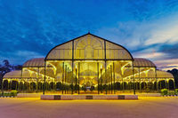 Bangalore India, night city skyline at Lalbagh Park glass house