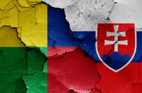 flags of Zilina Region and Slovakia painted on cracked wall