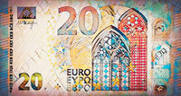 200 euro banknote and mosaic effect.