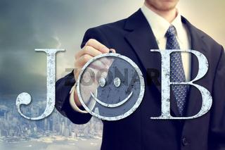 Job with smiley emoticon