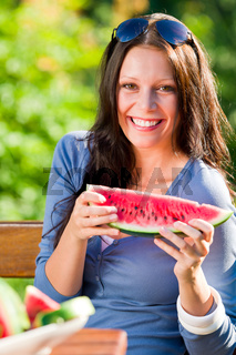 Fresh melon smiling woman sunny day sunny day
