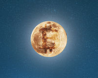 Bitcoin symbol on the moon, starry sky background