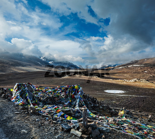 Buddhist prayer flags (lungta) on Baralacha La pass on Manali-Leh highway in Himalayas. Himachal Pradesh