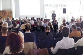 Business speaker giving a talk at business conference event.