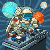astronaut cosmonaut dj on vinyl turntables. concert music performance