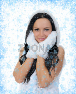 Cheerful woman clothing in warm hat.