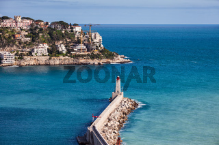 French Rivier Coastline of Mediterranean Sea in France