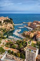 Monaco Aerial View Over Port De Fontvieille